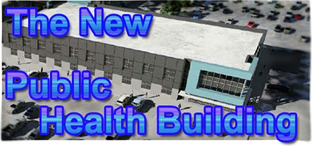 "Drawing of new Public Health Concept with words ""The New Public Health Building"" set on graphic"