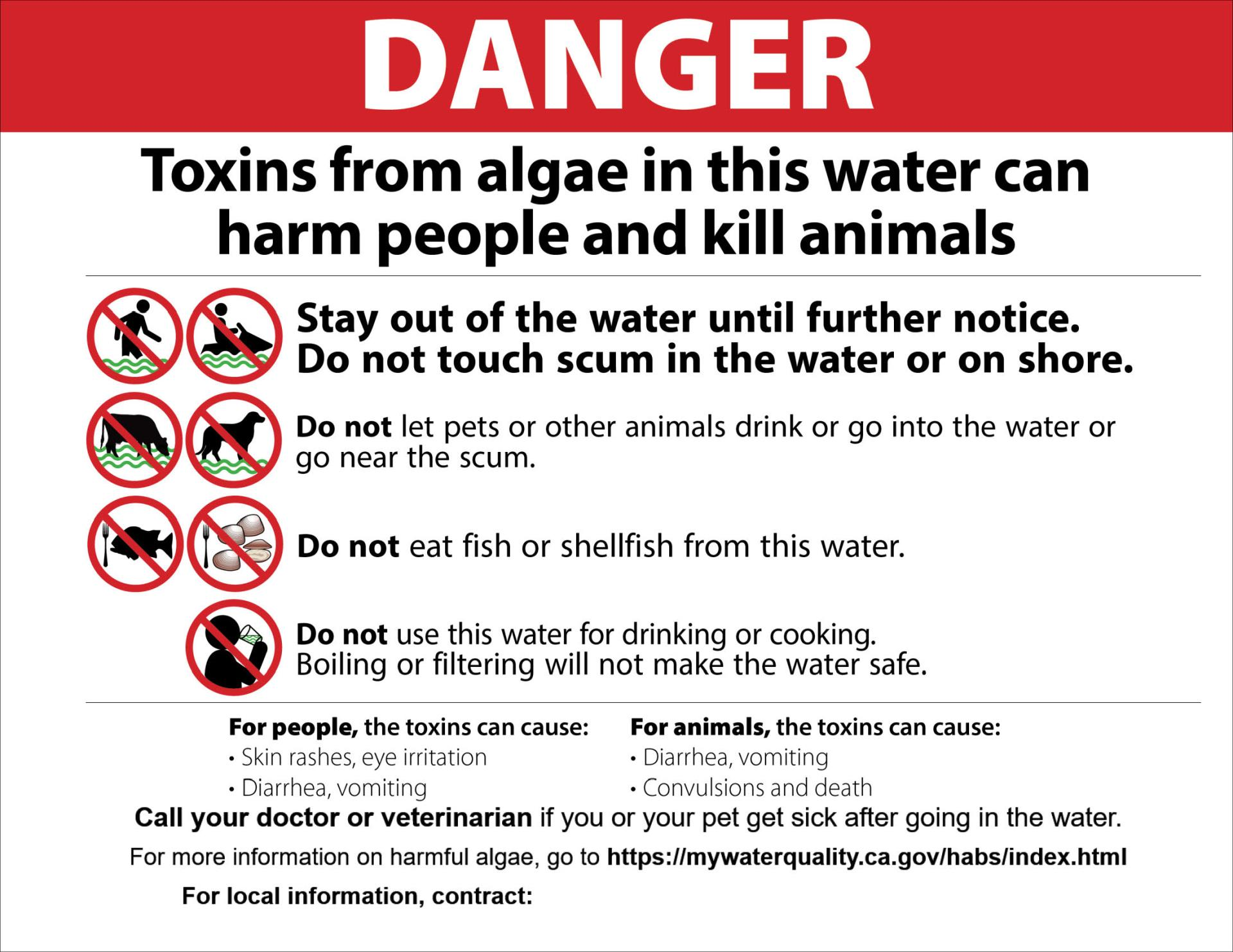 Danger Toxins from algae in this water can harm people and kill animals