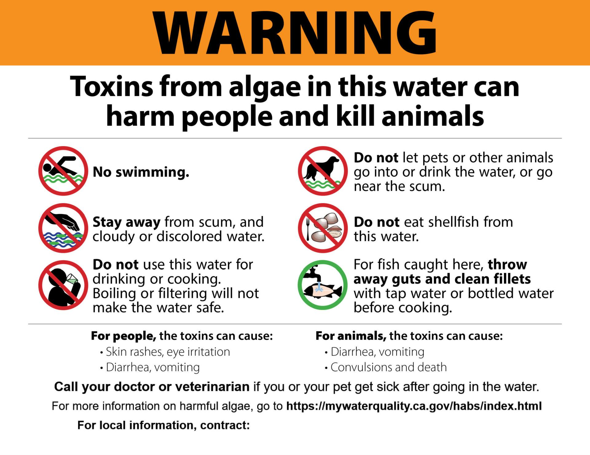 Warning - Toxins from algae in this water can harm people and kill animals