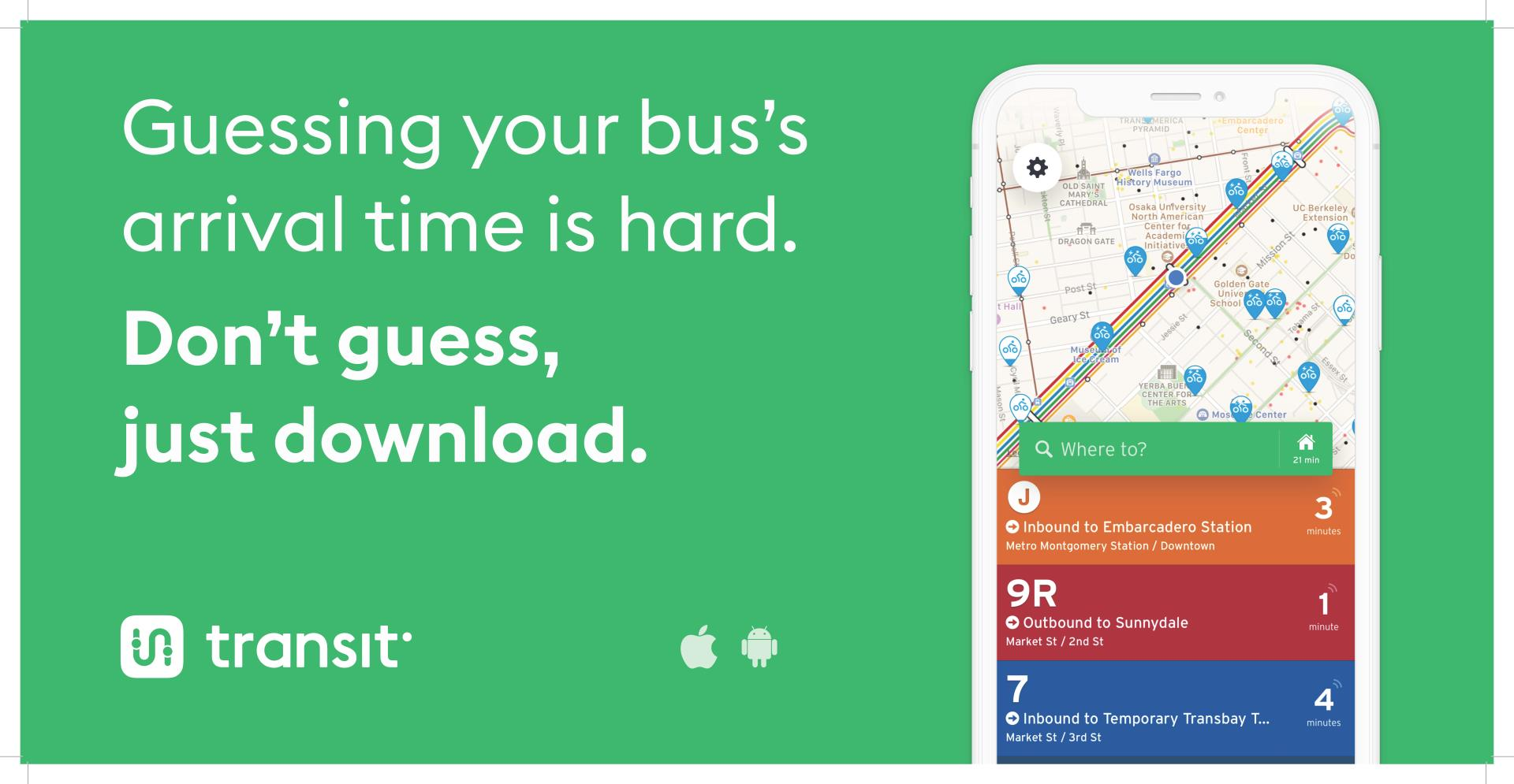 Transit App available on apple and andriod app stores