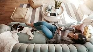 lady on couch with puppy on pillow