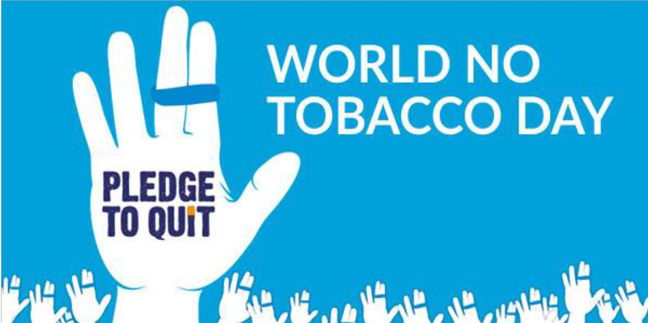 "World No Tobacco Day, blue background with white hand and text set on top ""Pledge to quit"", with a row of small white hands at the bottom"