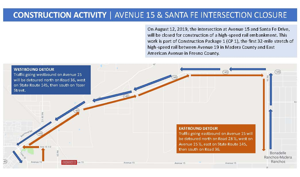 Avenue 15 and Road 29 Intersection closure and detour map