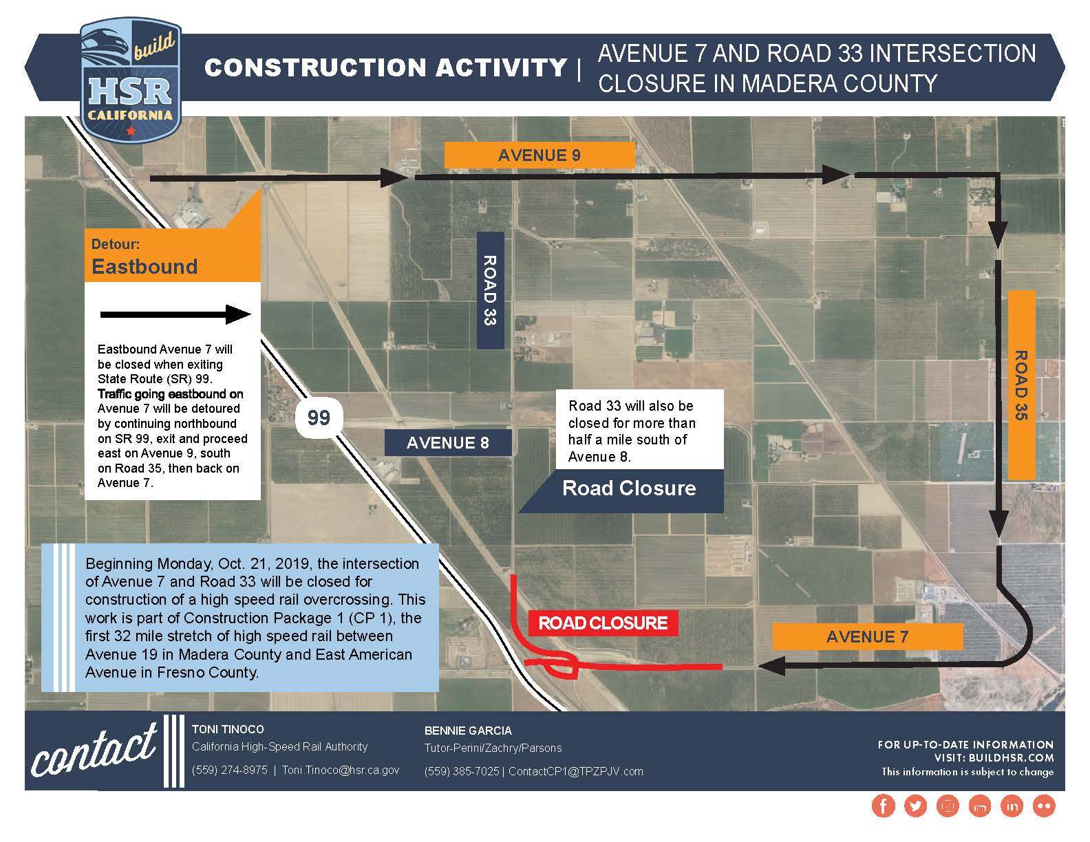 Avenue 7 and Road 33 Intersection Closure in Madera County - Map