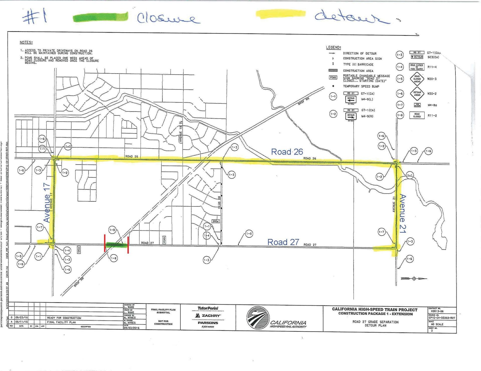 Road 27 Closure and Detour Map
